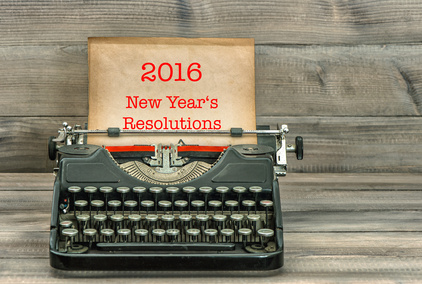 """Illustrative image of typewriter with paper in it and """"2016 New Year's Resolutions"""" written on it"""